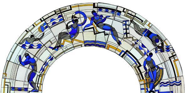 Paris - Piscine Molitor, vitraux Louis Barillet 1929, état après restauration Atelier Delphine Geronazzo - 2013