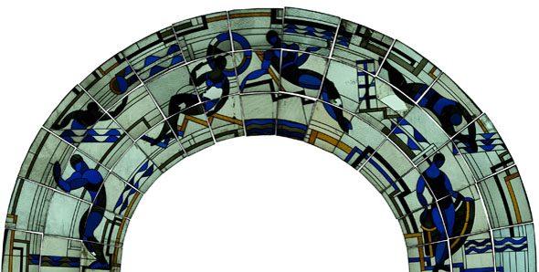 Vitrail Paris - Piscine Molitor, vitraux Louis Barillet 1929, état avant restauration Atelier Delphine Geronazzo - 2013